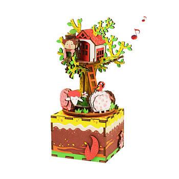 Дерев'яна музична шкатулка конструктор Robotime AM408 Будиночок на дереві