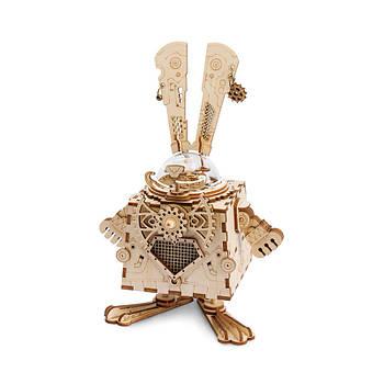 Дитяча музична шкатулка дерев'яна конструктор Robotime AM481 Кролик