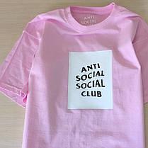 Футболка ASSC Pink   Бирки Anti Social Social Club   Чоловіча рожева, фото 3
