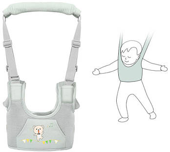Дитячі віжки-ходунки з додатковими підкладками, застібками М'ятний (n-809)