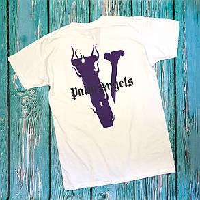 Футболка біла Palm Angels x Vlone Fiolet • Палм Анджелс футболка, фото 2