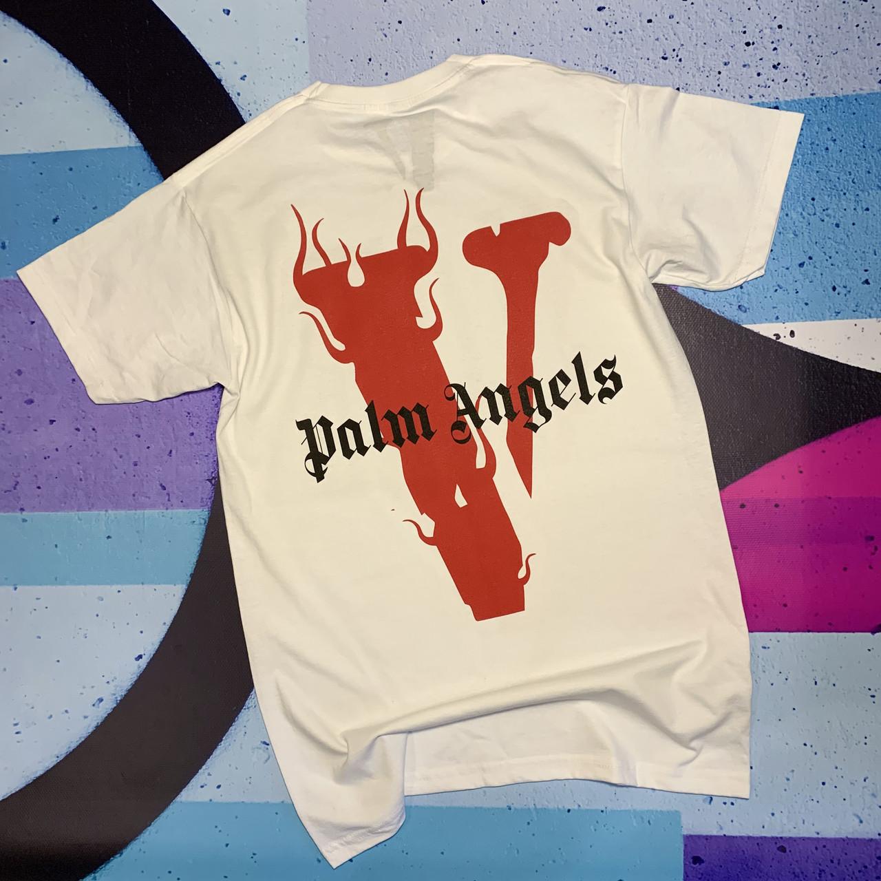 Футболка белая Palm Angels x Vlone Red • Палм Анджелс футболка
