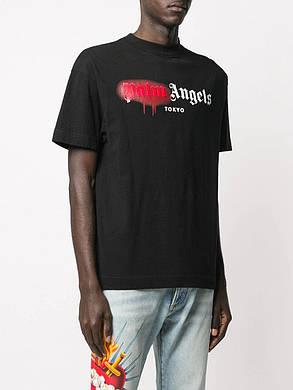Футболка чёрная Palm Angels red spray • Палм Анджелс футболка, фото 2