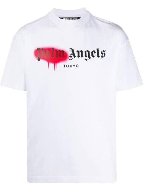 Футболка белая Palm Angels red spray • Палм Анджелс футболка