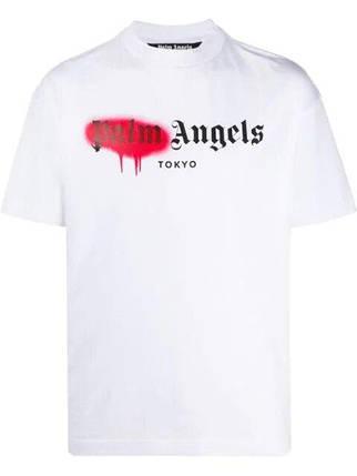 Футболка белая Palm Angels red spray • Палм Анджелс футболка, фото 2