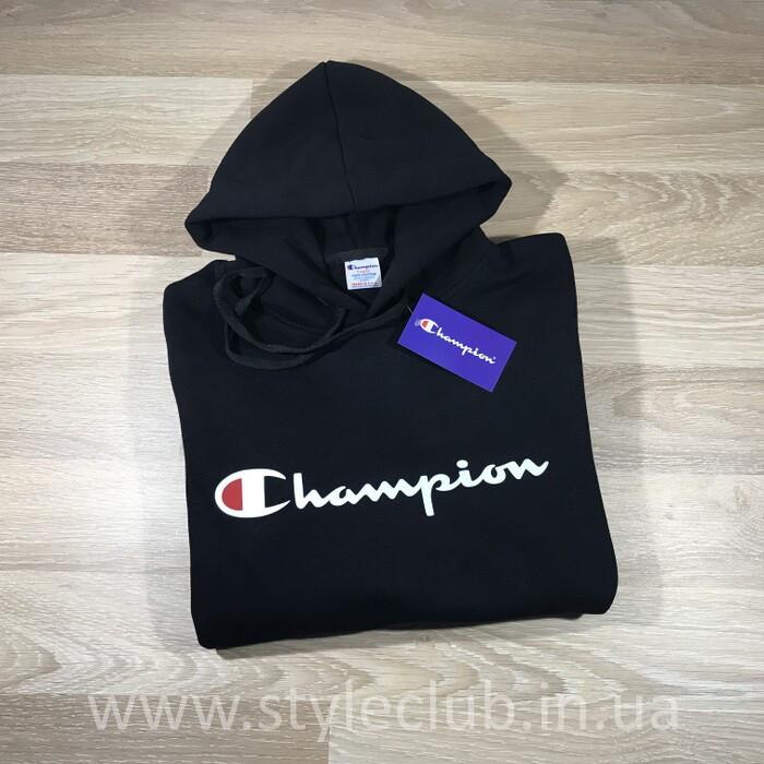 Толстовка чёрная Champion classic | худи чемпион | кенгурушка