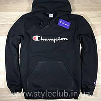 Толстовка чёрная Champion classic | худи чемпион | кенгурушка, фото 2