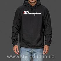 Толстовка чёрная Champion classic | худи чемпион | кенгурушка, фото 3