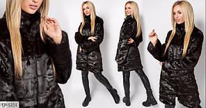 Модна тепла жіноча шуба норкова штучне хутро теплий якісний з коміром стійкою арт 131/1