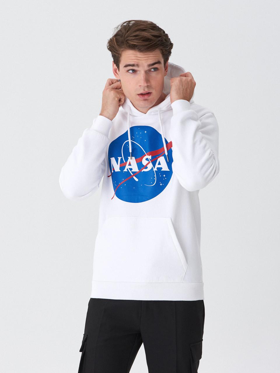 Толстовка біла NASA Logo CL | худі насса | кенгуру наса