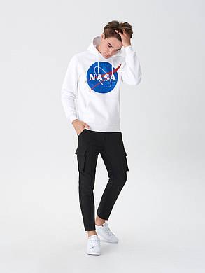 Толстовка біла NASA Logo CL | худі насса | кенгуру наса, фото 2