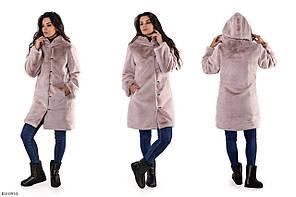 Зручна гарна тепла шуба зимова еко хутро кролика з капюшоном до середини стегна арт 129