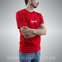 Футболка чоловіча Supreme червона   Бирка оригінальна, фото 3