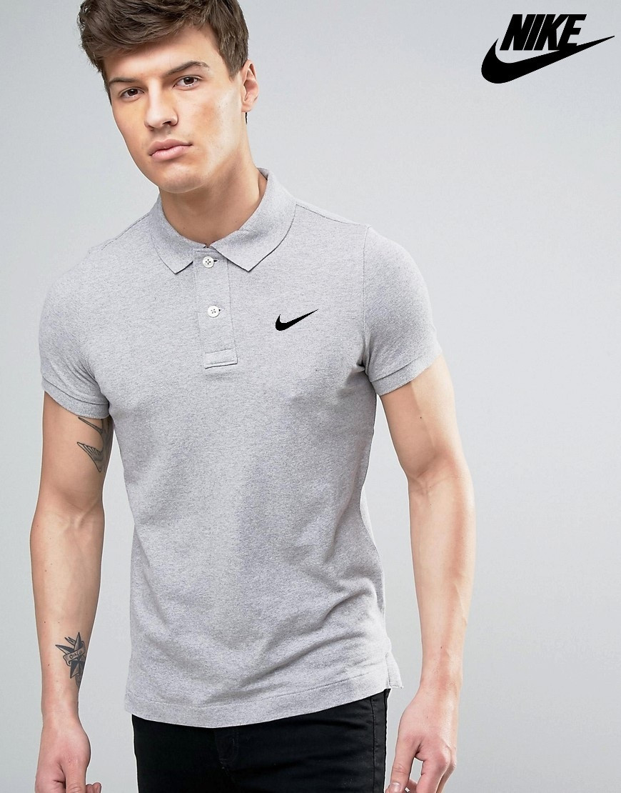 Футболка Поло Nike   Серая тенниска Найк лого