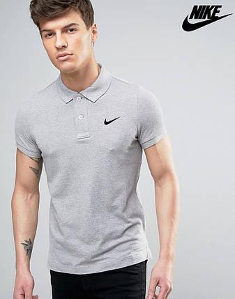 Футболка Поло Nike   Серая тенниска Найк лого, фото 2