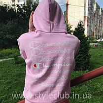 Толстовка розовая Champion | худи чемпион | кенгурушка, фото 2