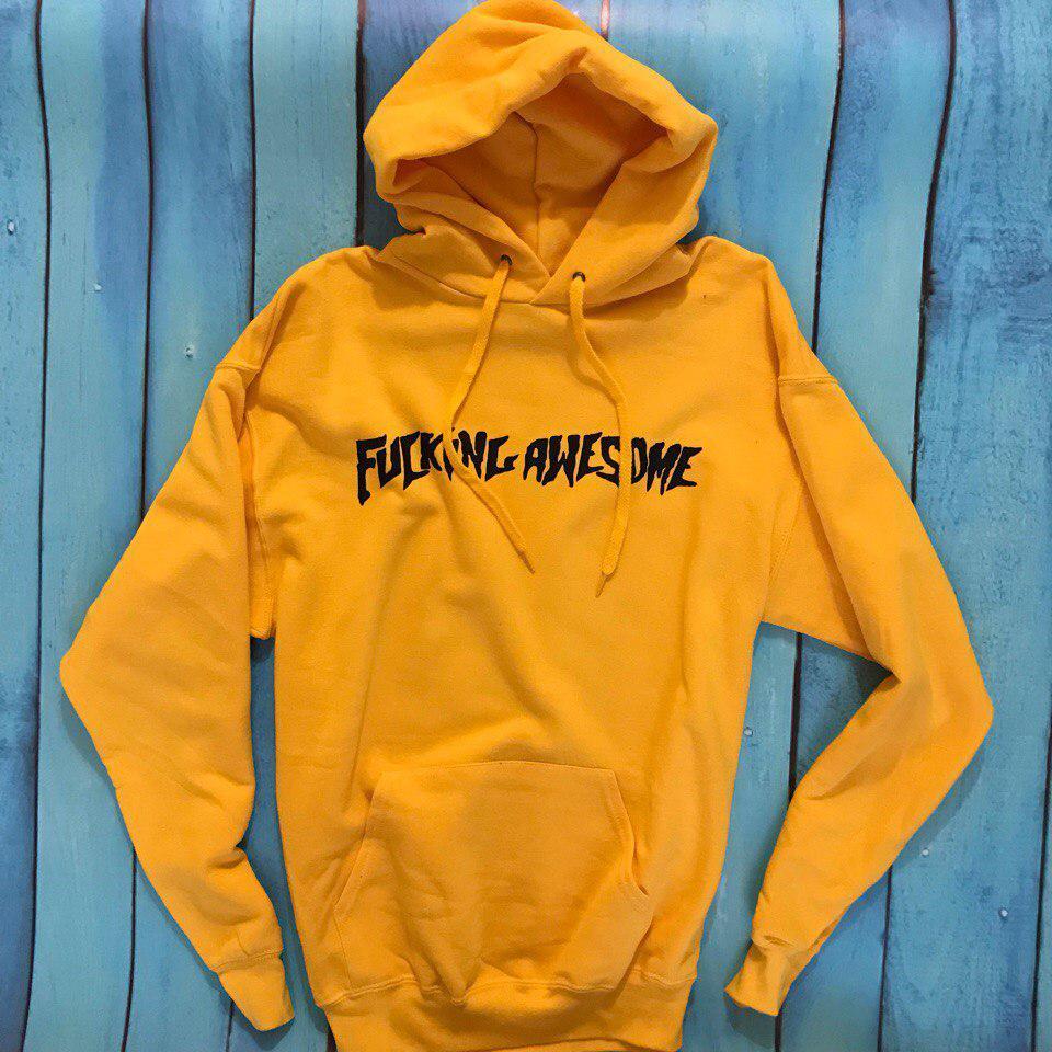 Толстовка Fucking Awesome • Желтая мужская и женская худи • Оригинальные бирки • Хайповый бренд