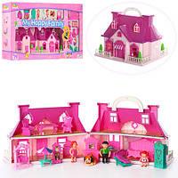 Кукольный домик в чемодане со звуком и светом мебель, 3 фигурки, собачка