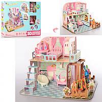 Двухэтажный домик для куклы с детской площадкой. Игрушечная мебель для кукол с ванной и спальней
