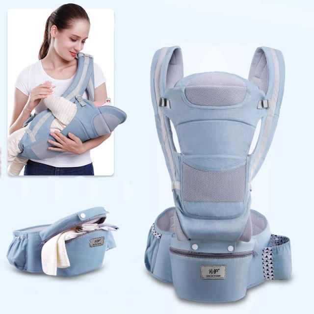 Хипсит, Ерго-рюкзак кенгуру переноска Baby Carrier 6 в 1 Блакитний (n-891)