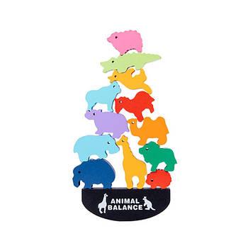 Дерев'яна розвиваюча іграшка балансир Animal Balance Lesko DL2253 Світ тварин