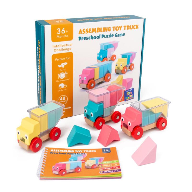 Деревянная развивающая игра Lesko DL-5556 Машинки для детей