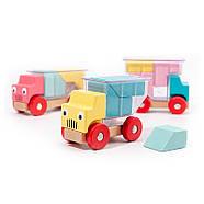 Деревянная развивающая игра Lesko DL-5556 Машинки для детей, фото 2