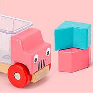 Деревянная развивающая игра Lesko DL-5556 Машинки для детей, фото 5
