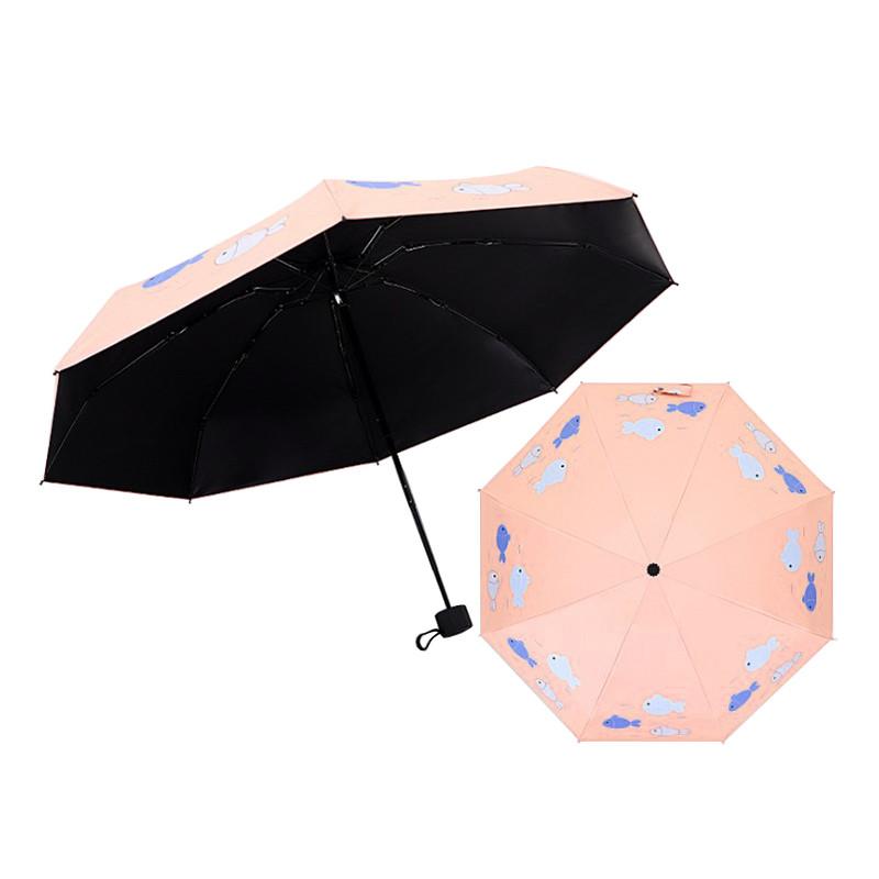 Детский мини-зонт Small Fish Lesko 190T Light Pink карманный