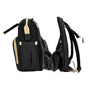 Сумка-рюкзак для мам і ліжечко для малюка Lesko 2 в 1 Black, фото 2