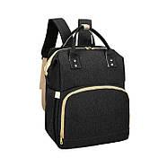 Сумка-рюкзак для мам і ліжечко для малюка Lesko 2 в 1 Black, фото 3