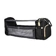 Сумка-рюкзак для мам і ліжечко для малюка Lesko 2 в 1 Black, фото 7