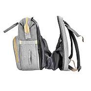 Сумка-рюкзак для мам і ліжечко для малюка Lesko 2 в 1 Gray, фото 2