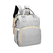 Сумка-рюкзак для мам і ліжечко для малюка Lesko 2 в 1 Gray, фото 3
