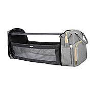 Сумка-рюкзак для мам і ліжечко для малюка Lesko 2 в 1 Gray, фото 6