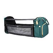Сумка-рюкзак для мам і ліжечко для малюка Lesko 2 в 1 Aquamarine, фото 2