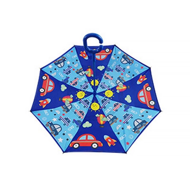 Детский зонт наоборот обратного сложения Up-Brella Fun Car-Blue