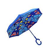 Детский зонт наоборот обратного сложения Up-Brella Fun Car-Blue, фото 2