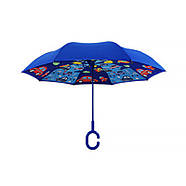 Детский зонт наоборот обратного сложения Up-Brella Fun Car-Blue, фото 4