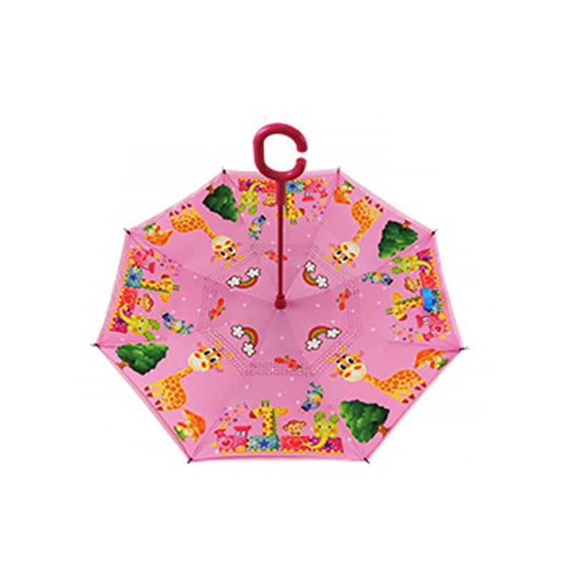 Детский зонт наоборот обратного сложения Up-Brella Giraffe-Pink