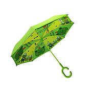 Детский зонт наоборот обратного сложения Up-Brella Frog-Green, фото 2