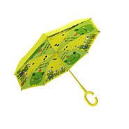 Детский зонт наоборот обратного сложения Up-Brella Frog-Yellow, фото 2