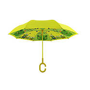 Детский зонт наоборот обратного сложения Up-Brella Frog-Yellow, фото 4