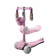 Детский самокат 2 в 1 трехколесный с сиденьем Lesko BAQ-016-8 Pink, фото 2