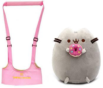 Набір дитячі віжки-ходунки Walking Assistant Рожевий і м'яка іграшка Пушини кет з пончиком (n-1134)