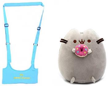 Набір Дитячі віжки-ходунки Walking Assistant Блакитний і М'яка іграшка Пушини кет з пончиком (n-1136)