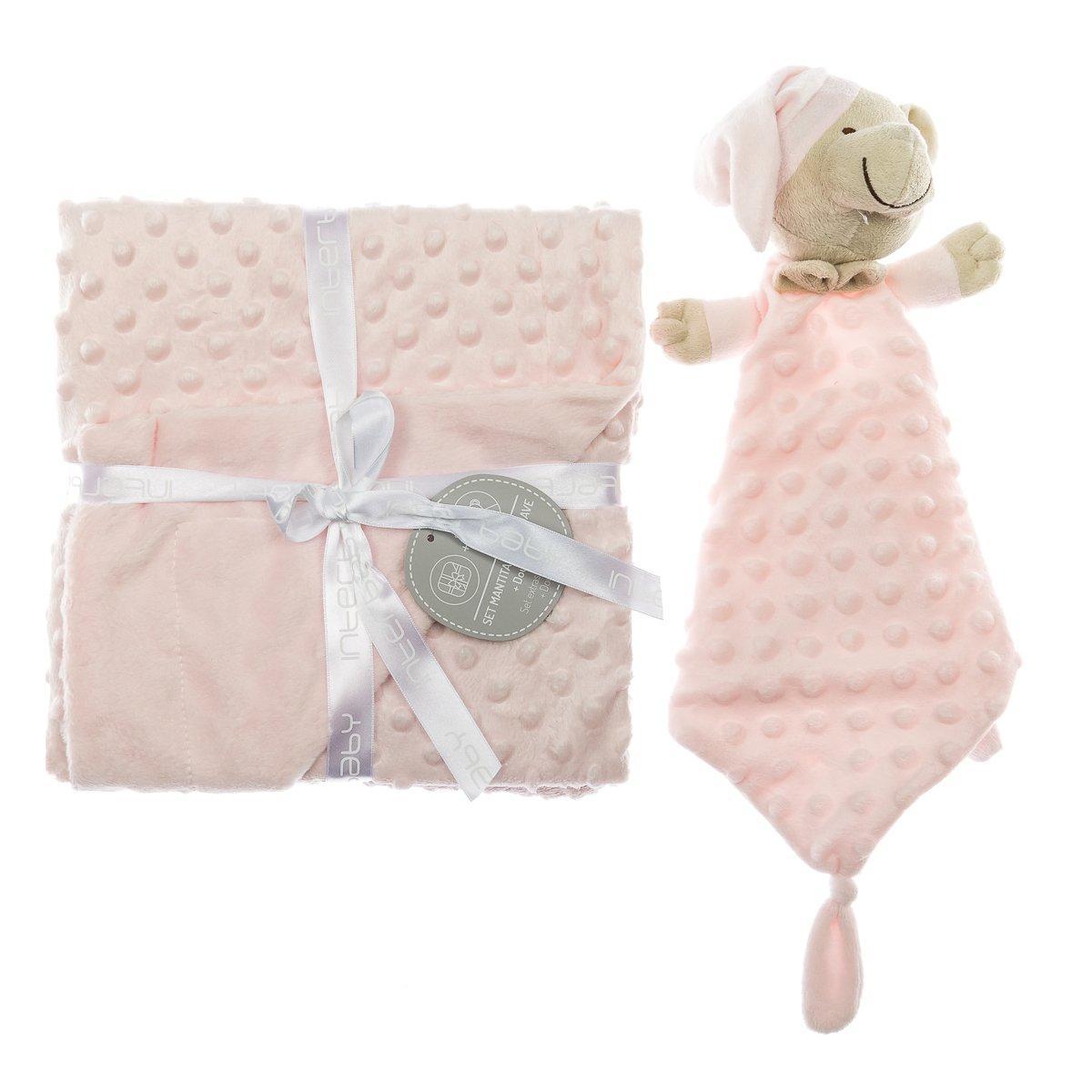 Плед з іграшкою-ковдрою Interbaby Bubble Dou-Dou Bear Pink 110х80