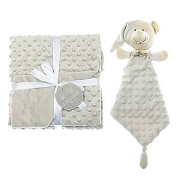 Плед с игрушкой-одеялом Interbaby Bubble Dou-Dou Bear Gray 110х80