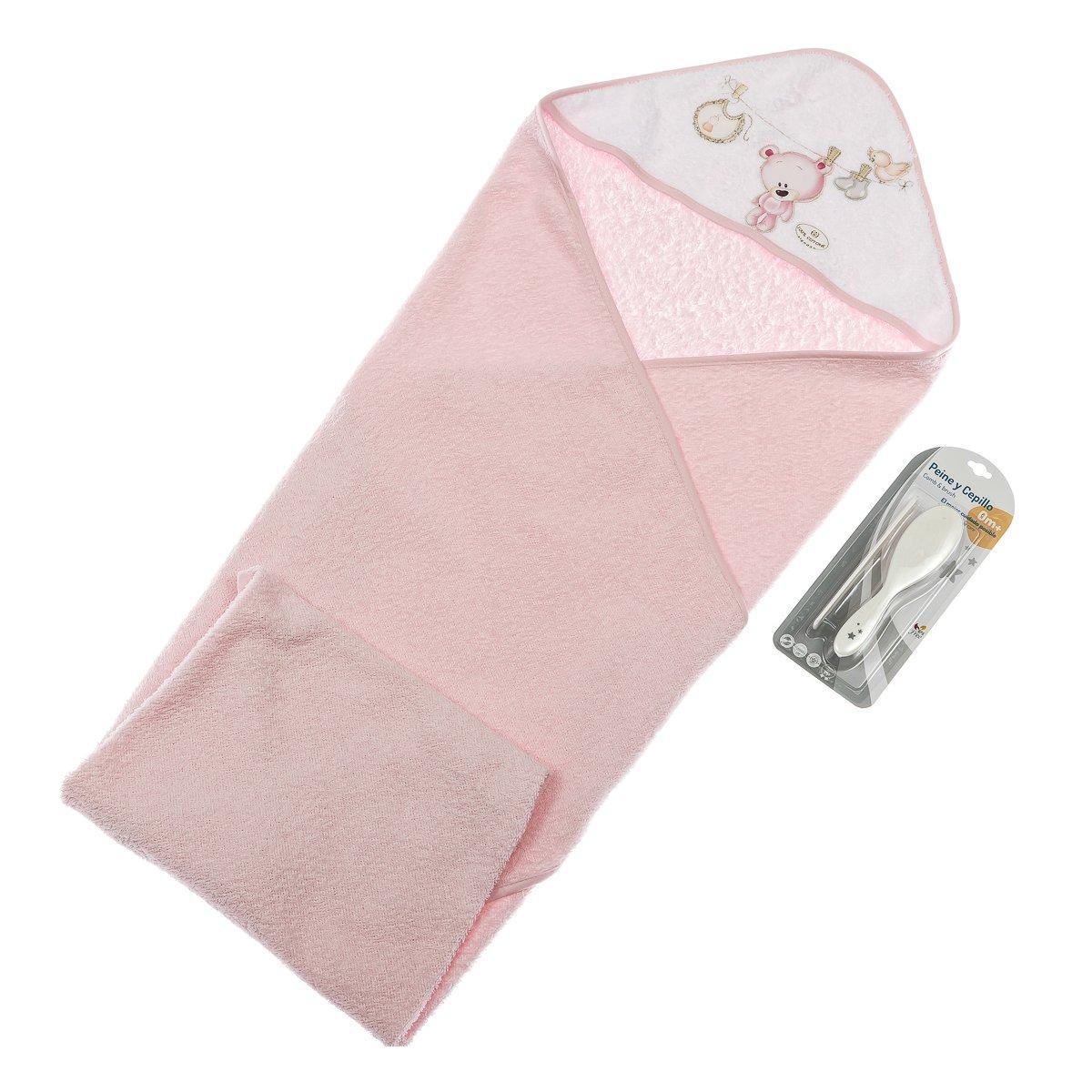 Полотенце и набор расчесок Interbaby Teddy Pink 100х100 см