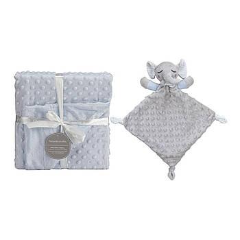 Плед с игрушкой-одеялом Interbaby Bubble Dou dou elephant blue 110х80